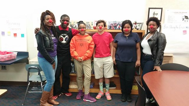 Sarina Chatman and Alicia Reed, Sojourn students, on the two ends, with Youngstown students during the red Nose Day celebration in April.