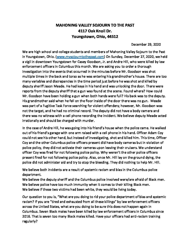 Police killing Black men in Columbus letter